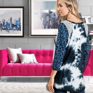 Blue Animal Print Tie Dy Color Block Blouse Tunic